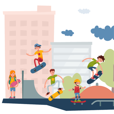Skateboarder active people park sport extreme outdoor active skateboarding urban jumping tricks vector illustration.