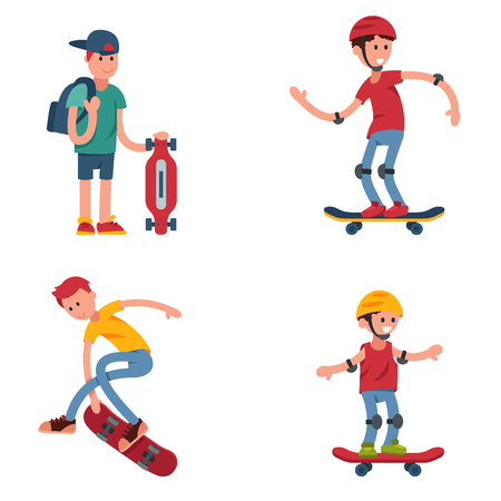 Young skateboarder active people sport extreme active skateboarding urban jumping tricks vector illustration. Illustration