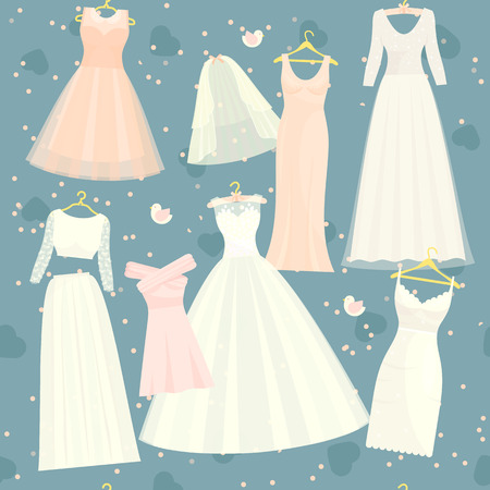 Wedding dresses vector set bride and bridesmaid white wear dressing accessories bridal shower celebration.