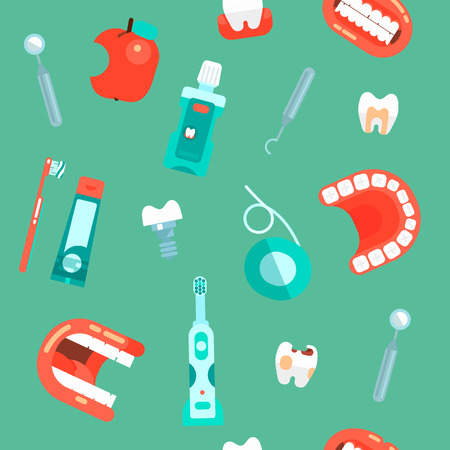 Dental Icons set vector dentist tools dentistry and orthodontics stomatology equipment toothbrush and toothpaste. Teeth cleaning Implants Illustration seamless pattern background