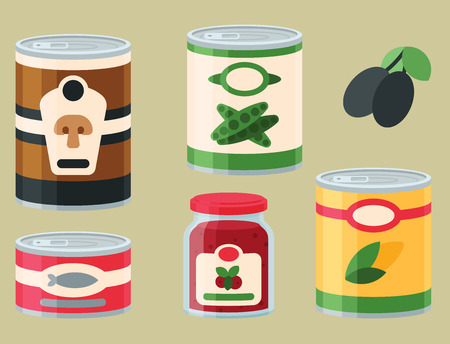 Collection of various tins canned goods food metal and glass container vector illustration. Ilustracja