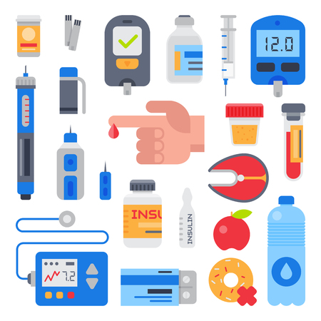 Diabetes vector for  medical care to diabetic and finger with blood drop for testing glucose sugar illustration set. Иллюстрация