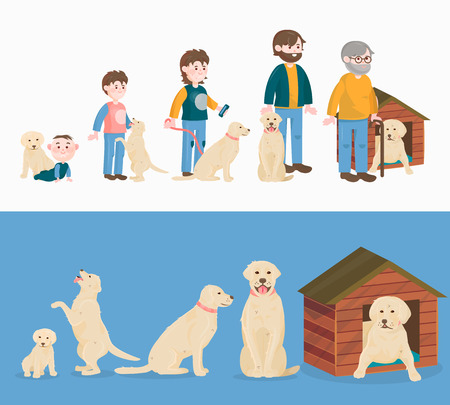 Child growth vector and  dog growing, aging concept from baby or puppy. Çizim
