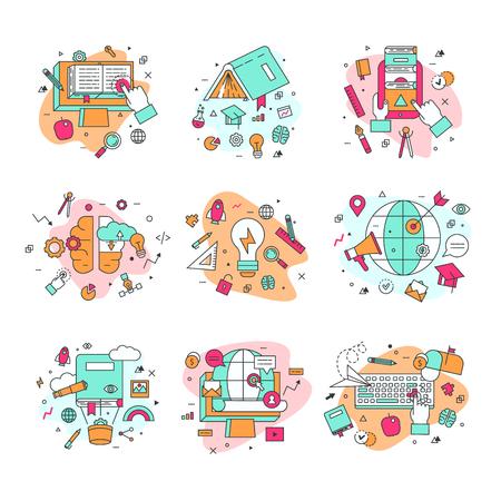 학교 및 졸업의 삽화, 교육 및 학습 상징. 일러스트