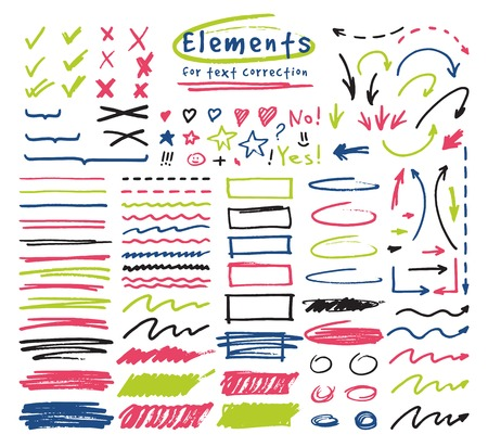 Highlighter markers vector highlighting with hand drawing elements to select and highlight text illustration set of marked lines and arrows isolated on white background. Illustration