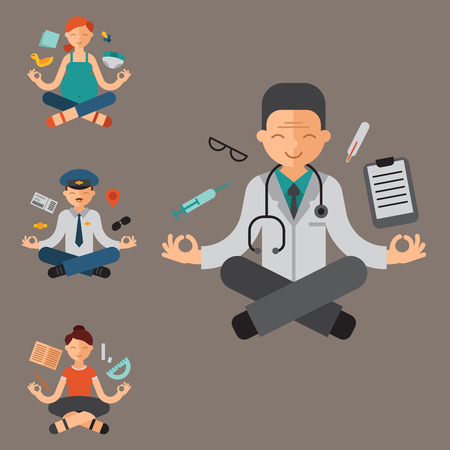 Lotus position yoga pose meditation art relax people relax isolated design concept character happiness vector illustration. Healthy lifestyle zen body asana.