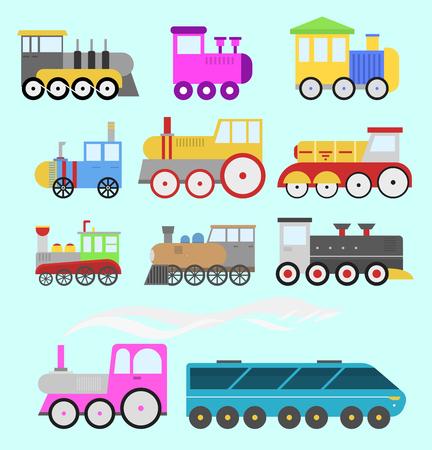 漫画のおもちゃの列車ベクトル鉄道や漫画のキャリッジゲーム楽しいレジャー喜びギフト機関車輸送。  イラスト・ベクター素材