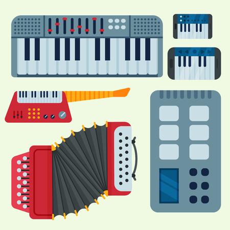 色の背景に隔離されたキーボードの音楽ベクトル楽器。