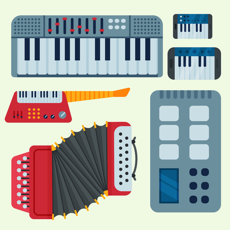 Keyboard musical vector instruments isolated on color background. Ilustrace