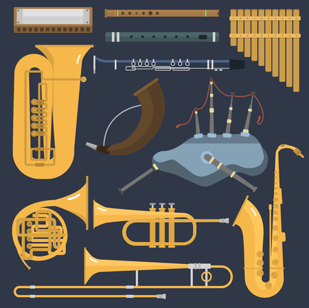 Musical wind brass tube instruments isolated on background. Illustration