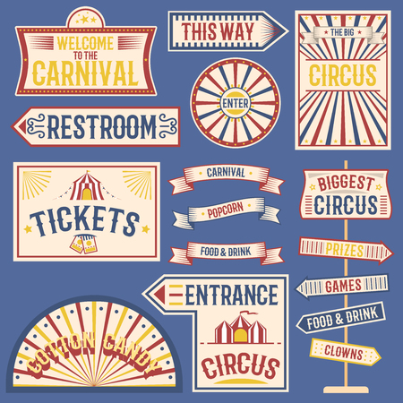 Circus labels carnival show banner vintage label elements for circus design on the party theme. Collection of symbols old-style fashioned festive party emblems and icons fun tag graphic illustration. Vectores