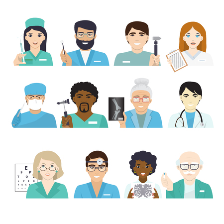 Doctors vector doctoral character portrait or professional medical worker physician or medic nurse in clinic illustration set of hospital staff isolated on white background.