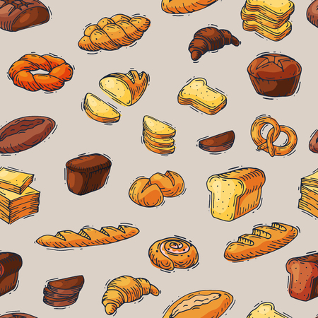 Bakery and bread vector seamless pattern background