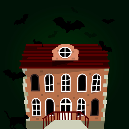 Dark, mysterious, obscure, gloomy, terrible witch castle for Halloween design vector illustration Иллюстрация