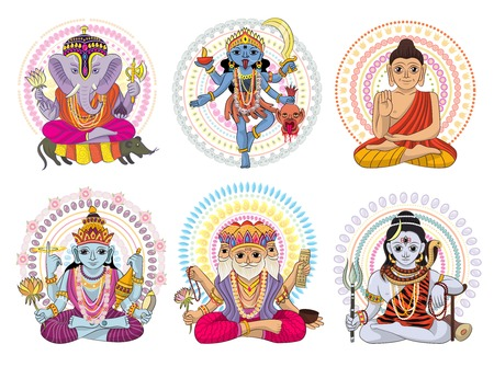 Indian god vector set