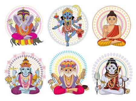 Indian god vector set
