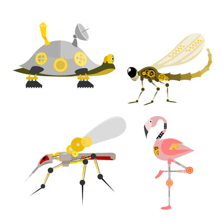 Stylized metal steampunk insect vector illustration set