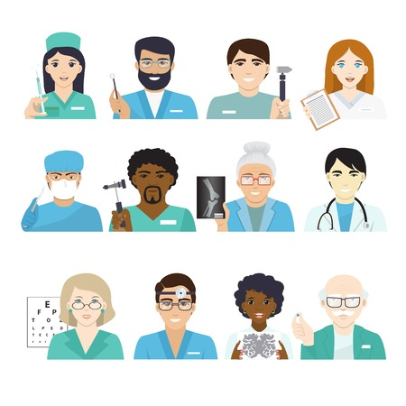 Doctors vector doctoral character portrait or professional medical worker physician or medic nurse in clinic illustration set of hospital staff isolated on white background