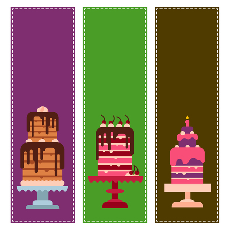 Wedding or Birthday pie cakes cards flat sweets dessert bakery ceremony delicious vector illustration.
