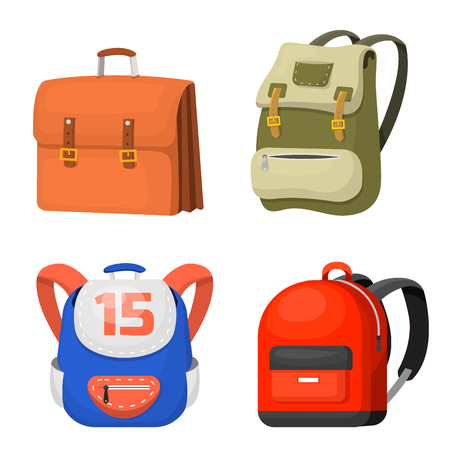 Terug naar school kinderen rugzak vector illustratie werktijd onderwijs bagage rugzak leren educatieve bagage. Vector Illustratie
