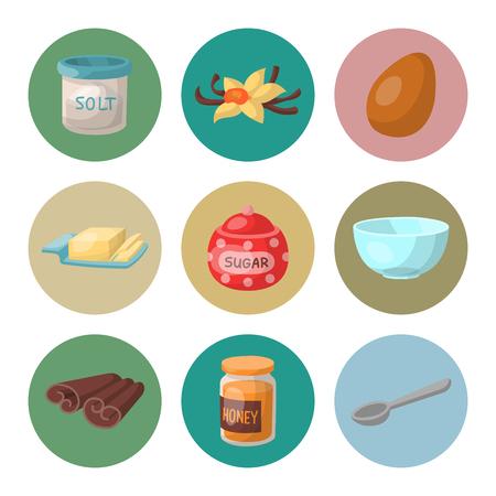 Backen Gebäck Vorbereitung Kochen Zutaten Küche Küchenutensilien hausgemachte Lebensmittel Bäckerei Vektor-Illustration . Traditionelles Kuchen Dessert vegetarische Produkte Werkzeuge Standard-Bild - 96395080