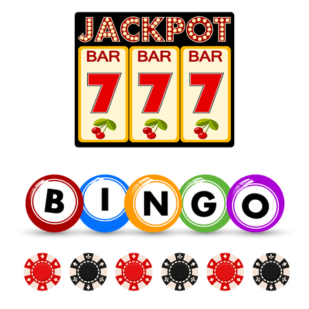 Casino gambling win luck fortune gamble play game objects risk chance icons success vegas roulette gaming vector illustration. Jackpot poker leisure entertainment.