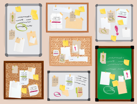 Office wall board pined stickers vector to-do planner pined on board illustration isolated officeplace stikers with bisiness notes text. Yellow, white paper message notebook sheet. Vettoriali