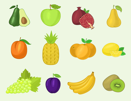Fruits vegetables vector healthy nutrition of fruity apple banana and vegetable carrot for vegetarians eating organic food from grocery
