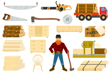 Timber vector woodcutter character or logger saws lumber or hardwood set of wooden timbered materials in sawmill isolated on white background