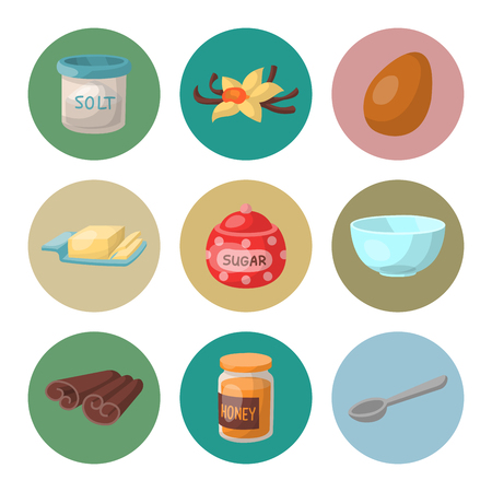 Baking pastry ingredients vector illustration. Illusztráció