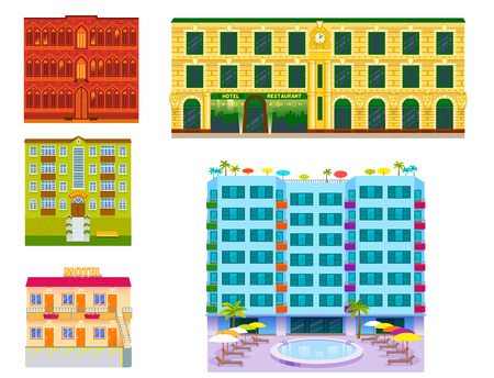 Hotel buildings vector illustration. Illustration