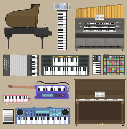 Musical instruments set Vectores