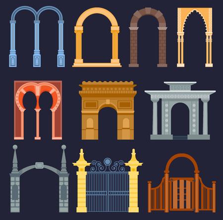 아치 게이트 벡터 집 외관 디자인 건축 건설 프레임 클래식, 열 구조 게이트 도어 외관 및 게이트웨이 건물 고대 건축 그림. 전통 예술 프레임 출입구 스톡 콘텐츠 - 96519793