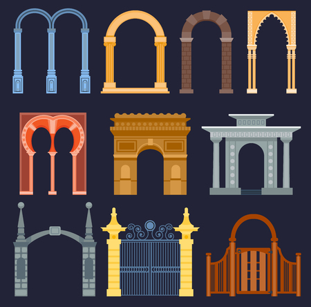 Arch gate vector house exterior design architecture construction frame classic, column structure gate door facade and gateway building ancient construction illustration. Traditional art frame doorway