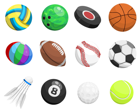Sport balls vector isolated on white background collection tournament win round basket soccer equipment. Recreation leather group traditional different sport balls washer, fly hook