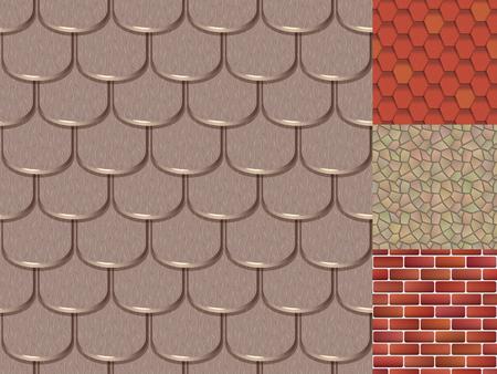 古典的な質感とディテールハウスシームレスパターンの屋根タイル  イラスト・ベクター素材