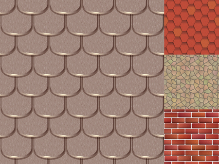 Roof tiles of classic texture and detail house seamless pattern Stock Illustratie