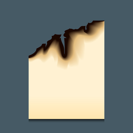 Burnt piece burned faded paper hole realistic fire flame, isolated page sheet torn ash vector illustration. Иллюстрация