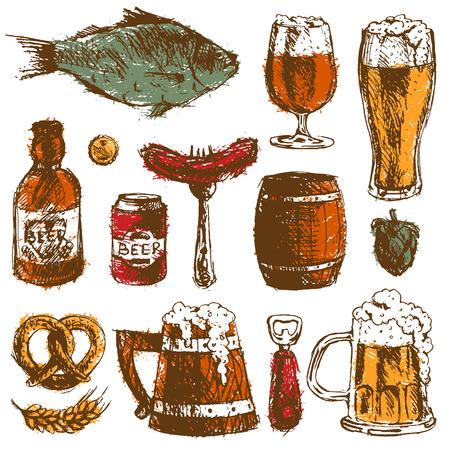 Beer food hand drawn sketch vector set