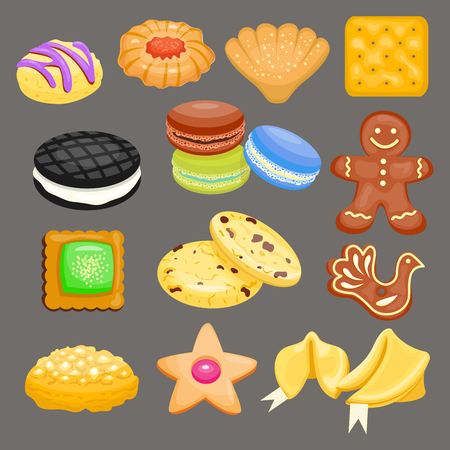 Sweet cookies set vector