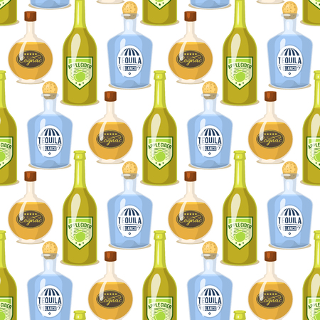 Alcohol drinks in bottles cartoon illustration 向量圖像