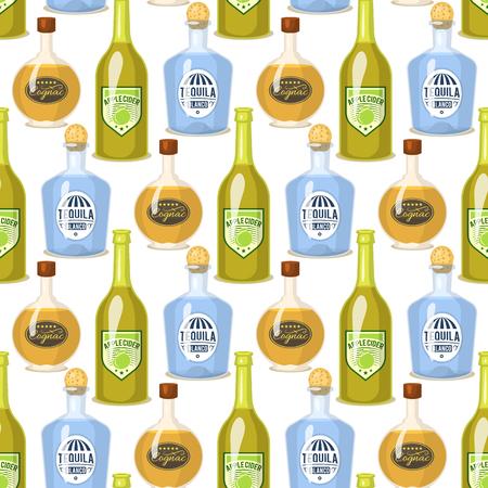 Alcohol drinks in bottles cartoon illustration Illustration
