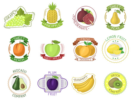 Fruit label vector fruity apple, orange, banana juice package and fruitful mango sign or juicy berry stickers logotype set illustration isolated on white background