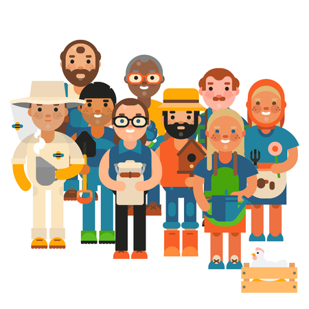 Farmers character vector illustration.