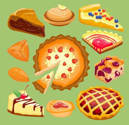 Cartoon cake pie slices isolated on background.
