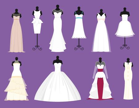 Wedding bride white dresses vector set Vettoriali