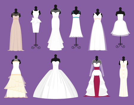 Wedding bride white dresses vector set Illustration