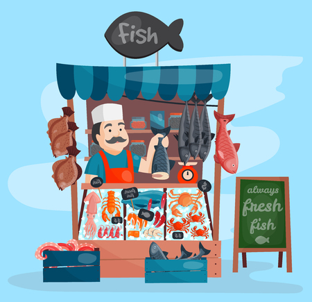 Fish shop vector kiosk street retro shop store market with freshness seafood in fridge traditional asian meal and fisherman dealer business person meat seller illustration