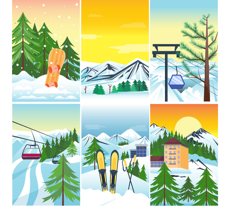 Winter landscape vector snow and house and tree tree. Mountain snowboard frozen wallpaper vintage beautiful nature. Xmas season december card background. Snowflake alpine skiing