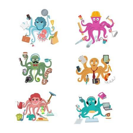 Octopus in business vector illustration octopi character of businessman constructor or housewife doing multiple tasks set of multitasking octopuses isolated on white background Illustration